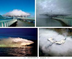 Здание-облако на озере Нёшатель, Швейцария.  Это здание конструировалось, как погодная станция. Специальные насосы качают воду из озера, вода превращается в пар и через 31 400 сопел высвобождается наружу. В тумане опорные конструкции становятся невидимы, и сооружение напоминает облако над водой.