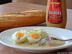 Huevos a la mostaza con puré