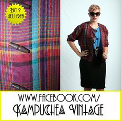 *3 FOR 2* Vintage Purple Blue Check Tartan Jacket szM - 1990s Indie FREE P £7.50 Vintage purple and blue tartan jacket with cool toggle detailing at the front. Looks great thrown over almost anything, really nice colours, unique and interesting piece of vintage!