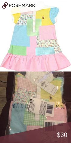 BNWT Ralph Lauren Patchwork dress size 6mos I have to be honest I shed a tear or two after I opened my baby's new clothes box and found clothes for 6mos all new, still with tag that I bought when I was still pregnant, she is now 7mos who wears 9mos size clothes! Ralph Lauren Matching Sets