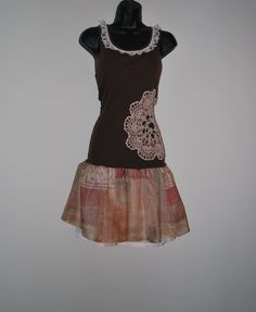 Upcycled tank summer dress in browns by oreomocha on Etsy, $45.00