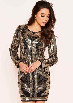 ebb29ccabb8 Missyempire - Danita Black Gold Sequin Detail Mini Dress Nye Outfits