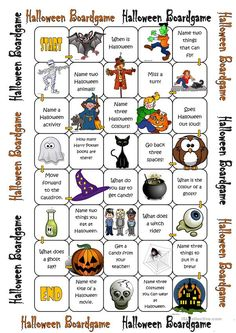 A collection of English ESL worksheets for home learning, online practice, distance learning and English classes to teach about halloween, halloween Halloween Board Game, Halloween Names, Halloween Activities For Kids, Holiday Activities, Holidays Halloween, Halloween Kids, Halloween Crafts, Halloween Party, Halloween Vocabulary
