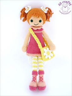 crochet toy / Monita doll, redhead in pink and daisies, designed by VetKa