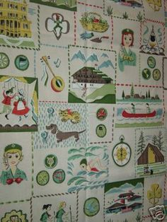 vintage novelty Girls Scout pattern fabric