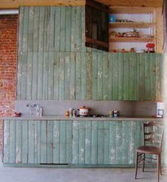 Reclaimed Wood Kitchen Cabinets for Nice Country Kitchen Style : Natural Green Decoration Reclaimed Wood Kitchen Cabinets Furniture Ideas Recycled Kitchen, Reclaimed Wood Kitchen, Salvaged Wood, Pallet Kitchen Cabinets, Wood Cabinets, Pallet Cabinet, Pallet Shelves, Green Kitchen, Summer Kitchen