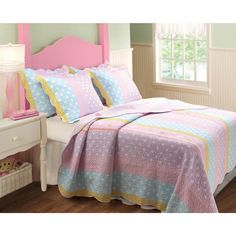 Brighten your kids room with the Polka Dot Stripe quilt set. Butterflies and polka dots enliven this quilt which features bold stripes in pastel colors.