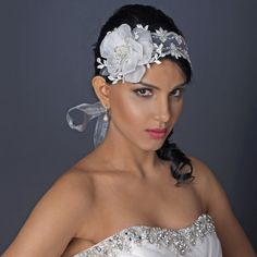 Elegant Light Ivory Ribbon Flower Headband or Bridal Belt Accessory