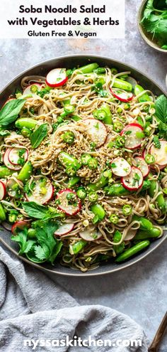 This vegan soba noodle salad with vegetables and herbs is a super easy and healthy meal that's easy to prep and oh-so-delicious! Made with gluten free buckwheat soba noodles, crunchy sugar snaps peas, radishes, fresh herbs, green onions, sesame seeds, and a super flavorful soy free dressing. Healthy Noodle Recipes, Healthy Asian Recipes, Best Salad Recipes, Salad Recipes For Dinner, Healthy Meal Prep, Pasta Recipes, Vegetarian Recipes, Simple Recipes, Vegan Meals