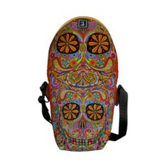 Shop Colorful Sugar Skull Inspired Mini Messenger Bag created by thaneeyamcardle. Mexico Day Of The Dead, Mini Messenger Bag, Funky Design, Vera Bradley Backpack, Sugar Skull, Colorful, Purses, Inspired, My Style