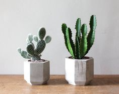 Set of 5 Geometric Concrete Planters by OKConcrete on Etsy