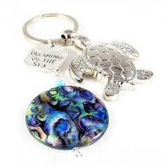 Sea Turtle Keychain Dreaming of the Sea by EarthlieTreasures