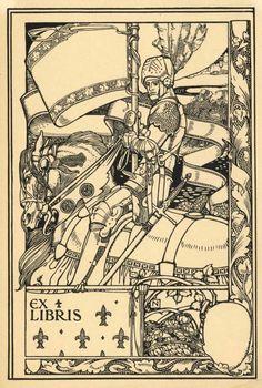 ex-libris - Harold Nelson Ex Libris, Saint George And The Dragon, Art Nouveau, Dark Photography, Ink Illustrations, Book Images, Art Sketchbook, Larp, Art Reference