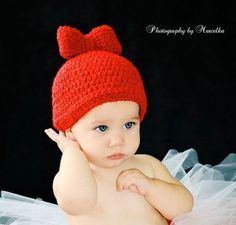 Baby Girls Hat Newborn 0-3m Bow Crochet Photo Prop Girl Clothes Sweet & CUTE Present Gift Perfect Year Round Color choices Valentine Easter