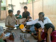 Amala Nathan and his grateful family give lunch to the residents of The Banyan's Homeless Shelter, Chennai.