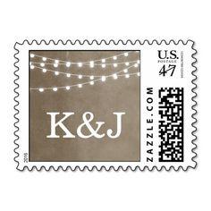 Summer String Lights Wedding Monogram Stamp