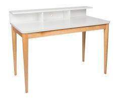 Mesa de escritorio Xira - blanco y natural