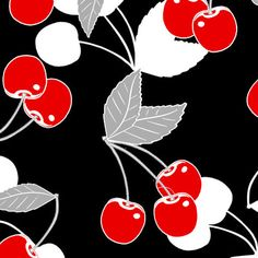 FABRIC RETRO CHERRIES Cherry Masquerade by DorothyPrudieFabrics