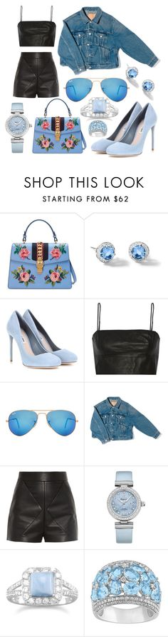 """""""Blue"""" by lucya-knight ❤ liked on Polyvore featuring Gucci, Riviere, Miu Miu, T By Alexander Wang, Ray-Ban, Balenciaga, OMEGA, BillyTheTree and Ice"""