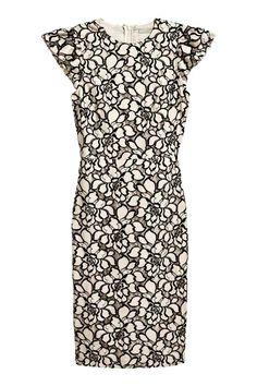 Jacquard-weave dress - Light beige/Floral - Ladies | H&M CA 1