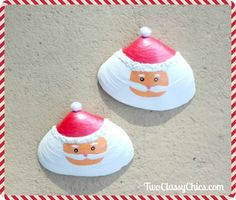 60 Different Shell Crafts for your Collected Beach Treasures {Saturday Inspiration & Ideas} - Different Shell Crafts for your Collected Beach Treasures {Saturday Inspiration & Ideas} - bystephanielynnPainted Santa Claus Clam Shells Christmas Decorations Seashell Christmas Ornaments, Christmas Art, Christmas Decorations, Beach Christmas, Sea Glass Crafts, Seashell Crafts, Beach Crafts, Rock Crafts, Holiday Crafts