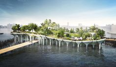 A futuristic park, Pier is coming just offshore at Hudson River Park, financed by Barry Diller and Diane von Furstenberg and designed by Thomas Heatherwick 111 West 57th Street, River Park, Landscape Architecture, Landscape Design, Architecture Design, Classical Architecture, Green Architecture, Green Landscape, Parks In New York