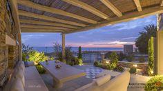 Sunrise Sea Villa: Luxury Villa for rent at Chorefto, Pelion Greece House, Beach Stones, Stone Houses, Luxury Villa, Pergola, Greek, Outdoor Structures, Patio, Architecture