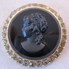 CASTLECLIFF Cameo Mourning Brooch Pendant by BrightEyesTreasures, $27.50