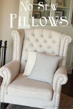 No Sew Pillows...simple pillow tutorial that you can whip up in a matter of minutes!