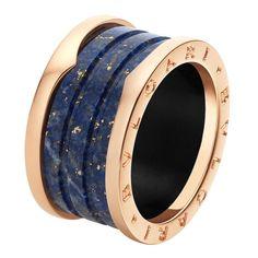 Bulgari Bzero1 pink gold and blue marble 4-band ring _ 790 GBP