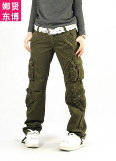 New 2013 Women's Army Green Fatigue Cargo Pants Plus Size High Waist Overalls Female Loose Casual Trousers-inPants & Capris from Apparel & Accessories on Aliexpress.com