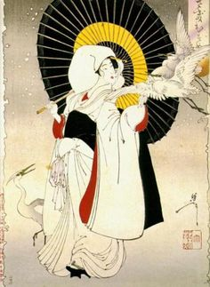 Yoshitoshi Print http://indigodreams.tumblr.com/post/4258575790/ieatmypancitwithrice-yoshitoshi-print