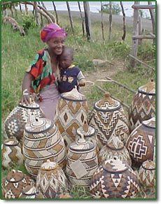 Zulu Weaver with Ilala Palm Baskets, Fair Trade Gifts and Home Decor