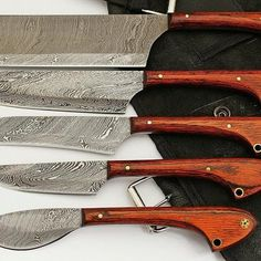 Stag Antler Grip Damascus Folding Pocket Knives lot of 5 Chef Knife Set, Knife Sets, Damascus Knife, Damascus Steel, Folding Pocket Knife, Pocket Knives, Collectible Knives, D2 Steel, Handmade Kitchens