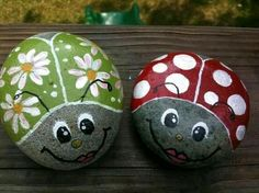 Hand Painted Ladybug Stone @ Etsy We made these when I was in elementary school . my mom still has my ladybug! Stone Crafts, Rock Crafts, Arts And Crafts, Diy Crafts, Decor Crafts, Pebble Painting, Pebble Art, Stone Painting, Art Pierre