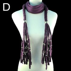 unique elegant purple tassel beaded scarf with ccbs multi braids NL-1557D #Welldone #Scarf