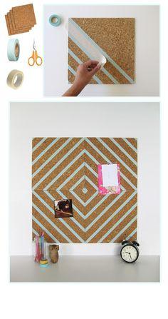 Washi tape embellished cork board for your dorm room Diy Simple, Easy Diy, Washi Tape Diy, Masking Tape, Mt Tape, Washi Tapes, Ideas Para Organizar, Diy Décoration, Fun Diy