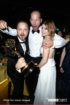 (L-R) Actor Aaron Paul, guest and actress Kate Mara attend the 66th Annual Primetime Emmy Awards Governors Ball held at Los Angeles Convention Center on August 25, 2014 in Los Angeles, California.  (Photo by Jeff Vespa/WireImage)  --  Access, discover and share millions of images at *newzcard.com.