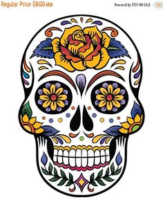 ON SALE Sugar Skull - pop art - 138 x 199 stitches - Cross Stitch Pattern Pdf - INSTANT Download - B684