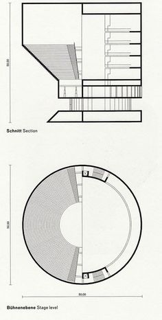 Simon Ungers, Silent Architecture [Theater section and plan], 2003-2004; inkjet print on paper mounted on Fortex   Source: San Francisco Museum of Modern Art