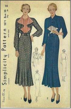 1930s Ladies Dress with Flounce Collar Sewing Pattern - Simplicity #1871