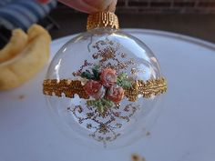 Vintage Glass Christmas Ornament Clear Embroidery Gold Glitter | eBay