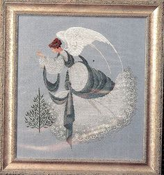 Lavanda y encaje de la puntada patrón de la Cruz, Ángel de hielo, 230 por 255 cuenta de la puntada Diseñado por Marilyn Leavitt-Imblum, 1993