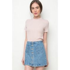 "Brandy Melville pink top small medium JAMIE TOP New with tag! Soft ribbed cotton top in blush pink with a crewneck front. 95% rayon, 5% spandex 23"" length, 15"" bust MODEL is 5'8"" with a 24"" waist. Made In USA Color: Pink Brandy Melville Tops Tees - Short Sleeve"