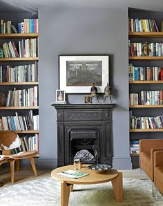 Grey Living Room with Alcove Shelving
