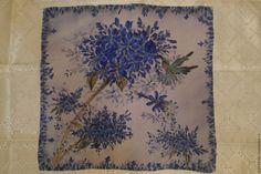 Купить Калибри и агапантус - синий, цветочный, платок шелковый, платок, батик платок, Батик, шелк