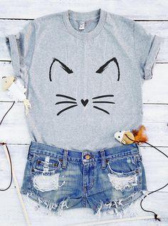 Cute cat shirt funny graphic kitty T-shirts women gift cute gift idea Girls  Puns 72541a95c60b