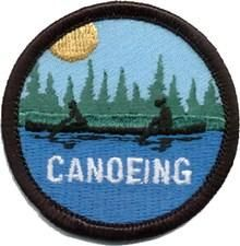 "Rowing Iron On Embroidered Applique-Water Sports Canoe /""CANOE FUN/"" PATCH"