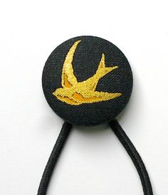 LUX Black and Metallic Gold Swallow Covered Button Hair Tie