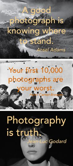Photography quotes that will get you behind the lens and practical advice that is helpful for snapping meaningful pictures. Meaningful Pictures, Great Pictures, Quotes About Photography, Photography Tips, Photo Tips, Photo Ideas, Image Makers, Ansel Adams, Lens
